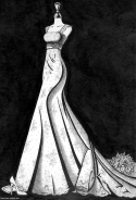 Empire line wedding dress illustration