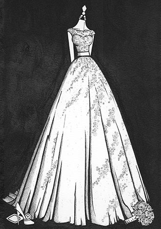 Claire Dillion finished dress illustration 470 x 330