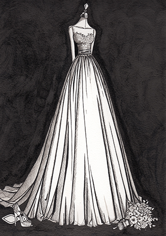 Penelope Dress by Watters finished dress illustration by Wedding Dress Ink