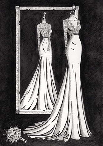 Tara Keely finished dress illustration by Wedding Dress Ink