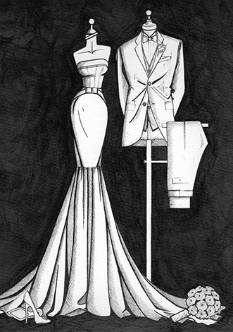 Bride and groom illustration by Wedding Dress Ink