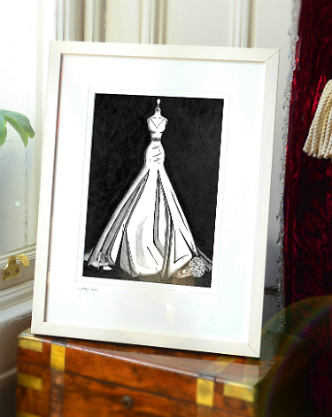 Audrey Vance wedding dress illustration