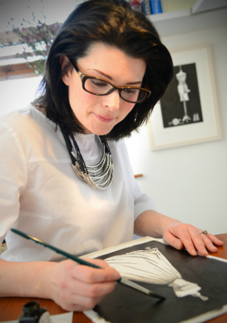 Audrey Vance illustrating in studio