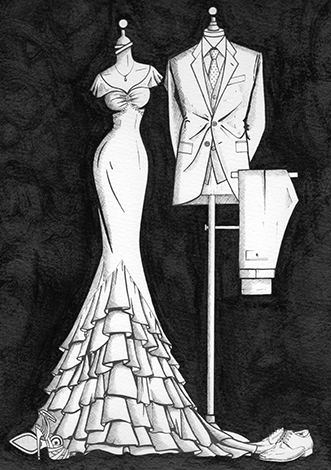 Bride and groom ink illustration by Wedding Dress Ink, Ireland