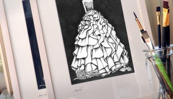 Wedding dress illustration a first anniversary gift