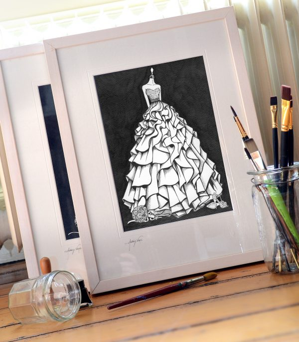 wedding dress sketch - wonderful wedding anniversary celebration gift
