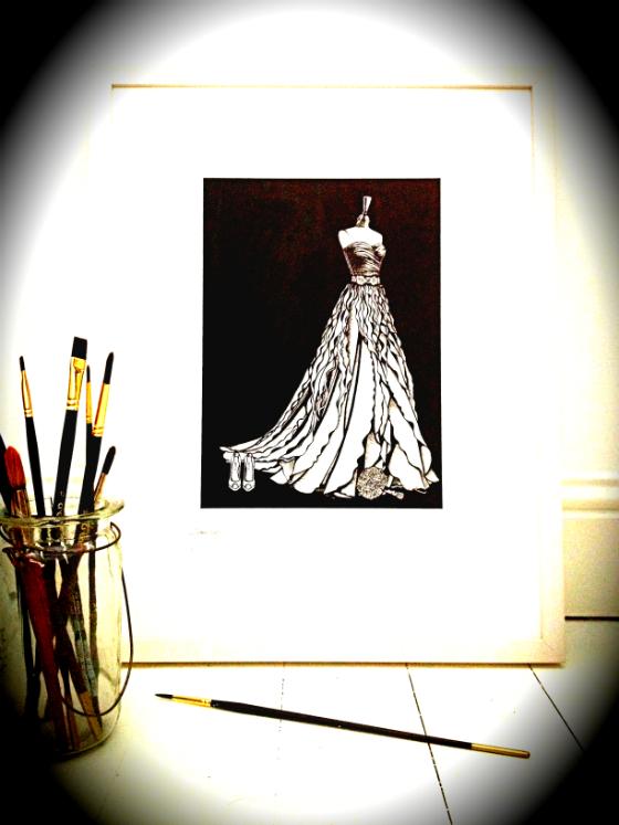 Pippa O'Connor's wedding dress illustration