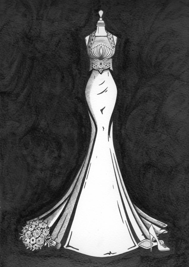vintage wedding dress captured in ink by Wedding Dress Ink