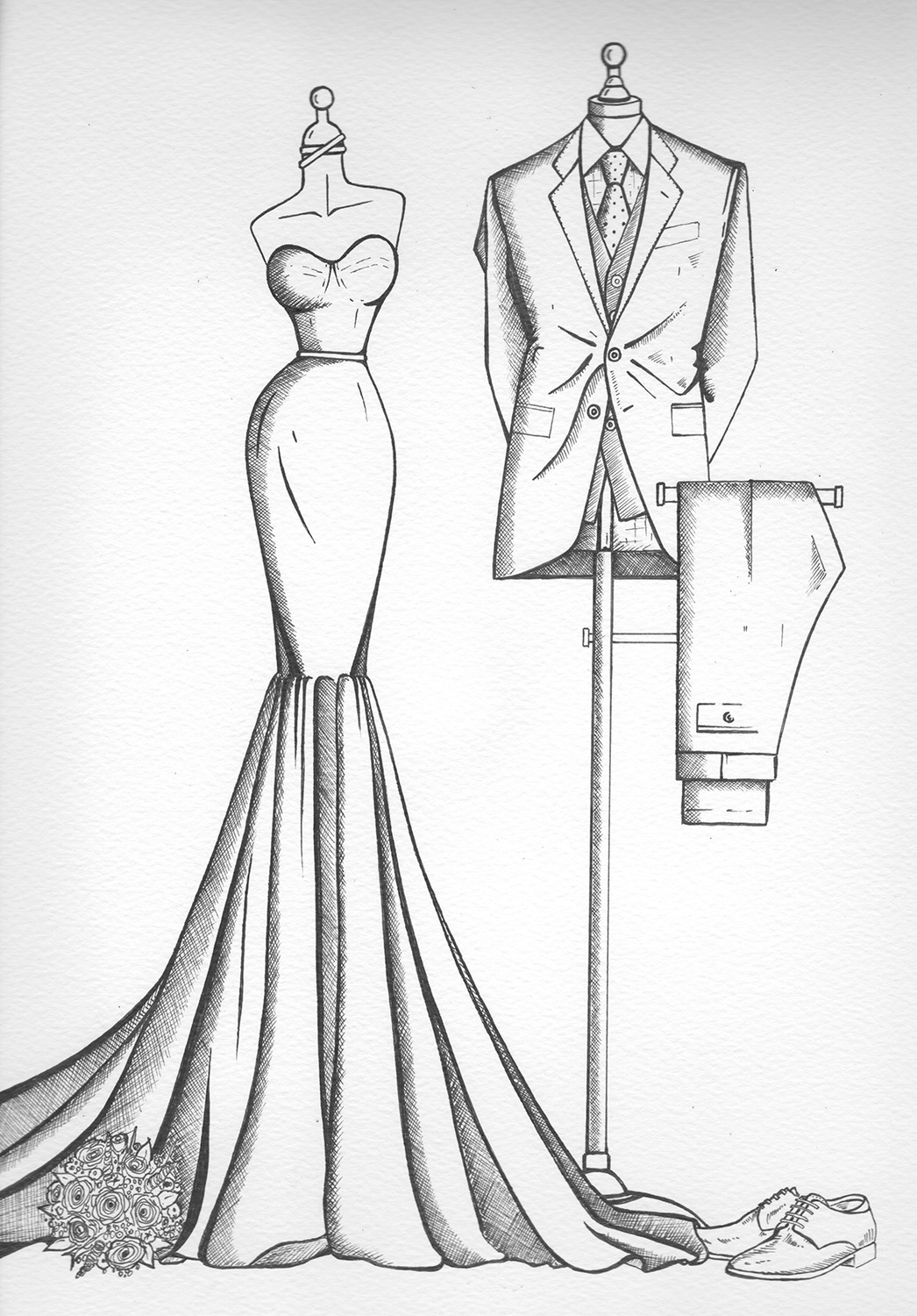 Bride N\' Groom Sketch - Wedding Dress Ink