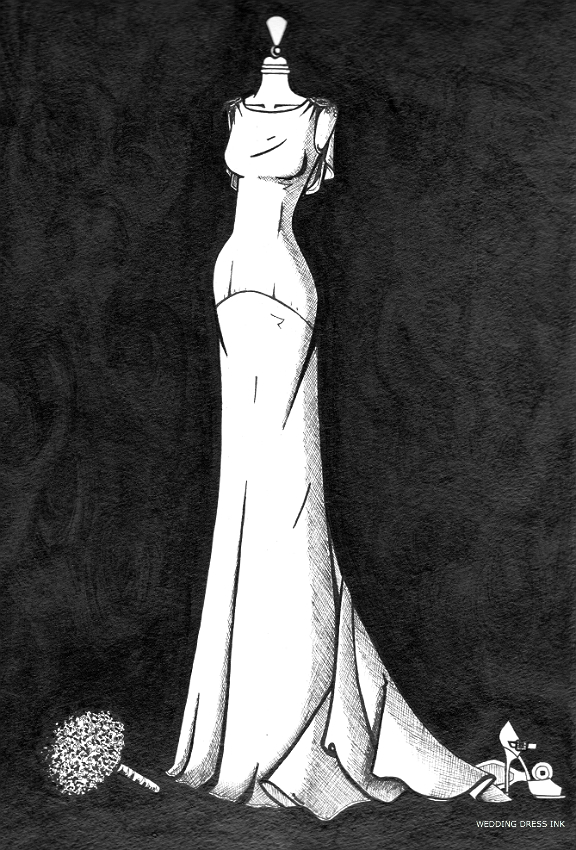 Elegant figure-hugging satin wedding illustration by Wedding Dress Ink