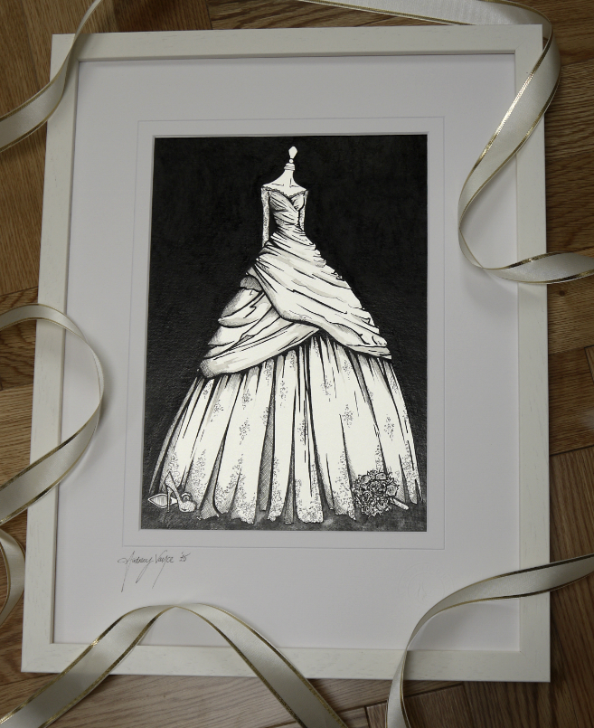 Lace and raw sink ballgown wedding dress illustrated by Wedding Dress Ink