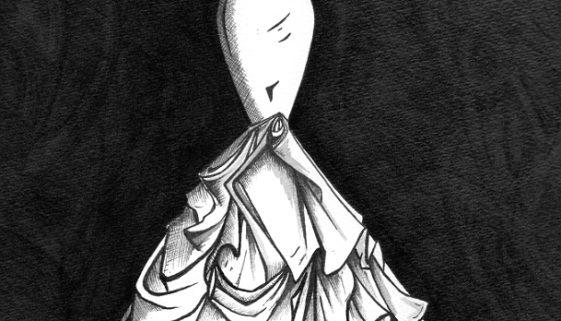 Mermaid style, ruched satin wedding dress illustration