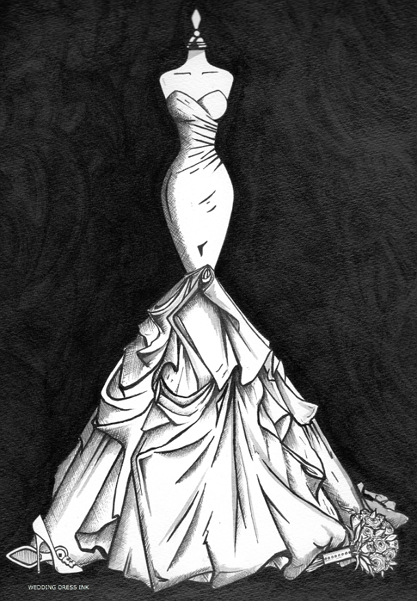 Mermaid style, ruched satin wedding dress illustration