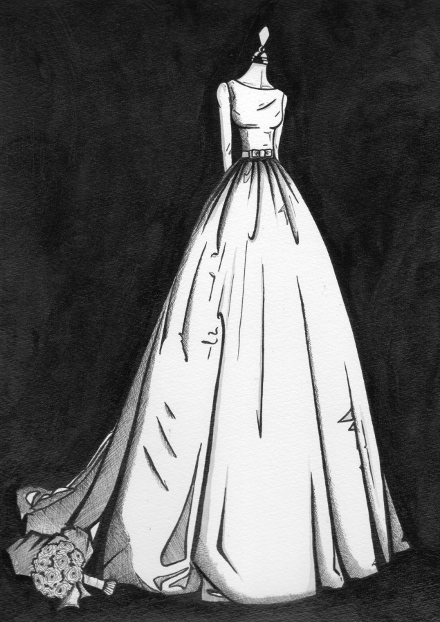 Simply elegant wedding dress - illustrated by Wedding Dress Ink
