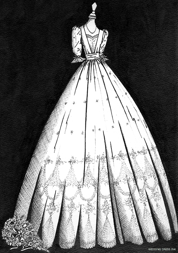 vintage wedding dress illustration
