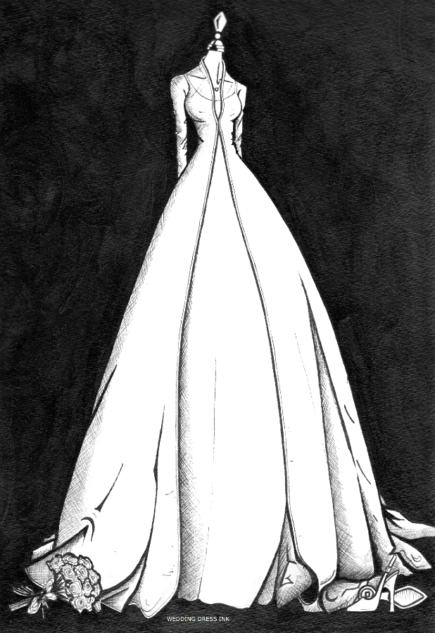 ballgown wedding dress illustration