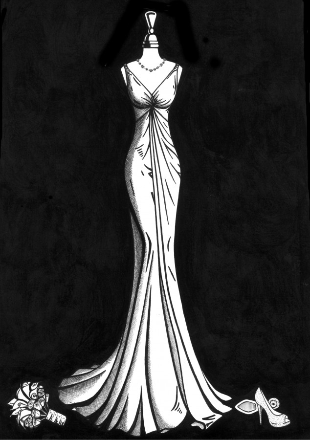 Laura and Jonathan Sexton's wedding dress illustration