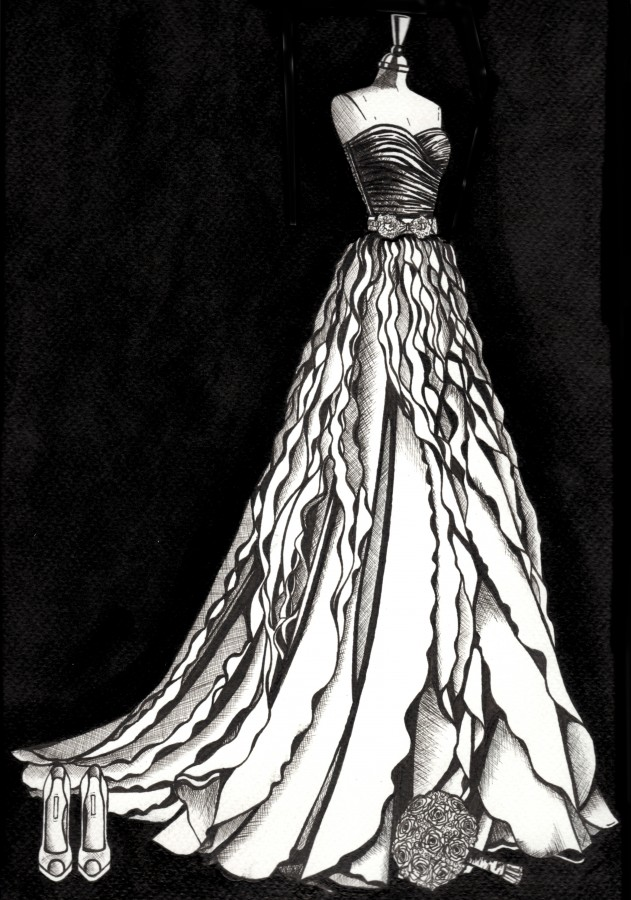 Pippa O'Connor Ormond wedding dress illustration