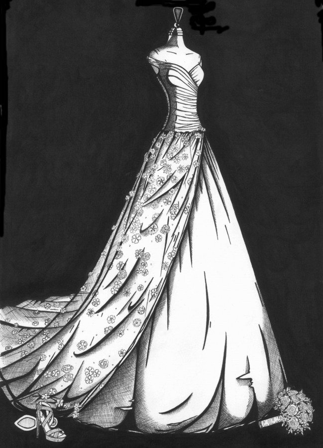 Rosanna Davison wedding dress illustration by Wedding Dress Ink