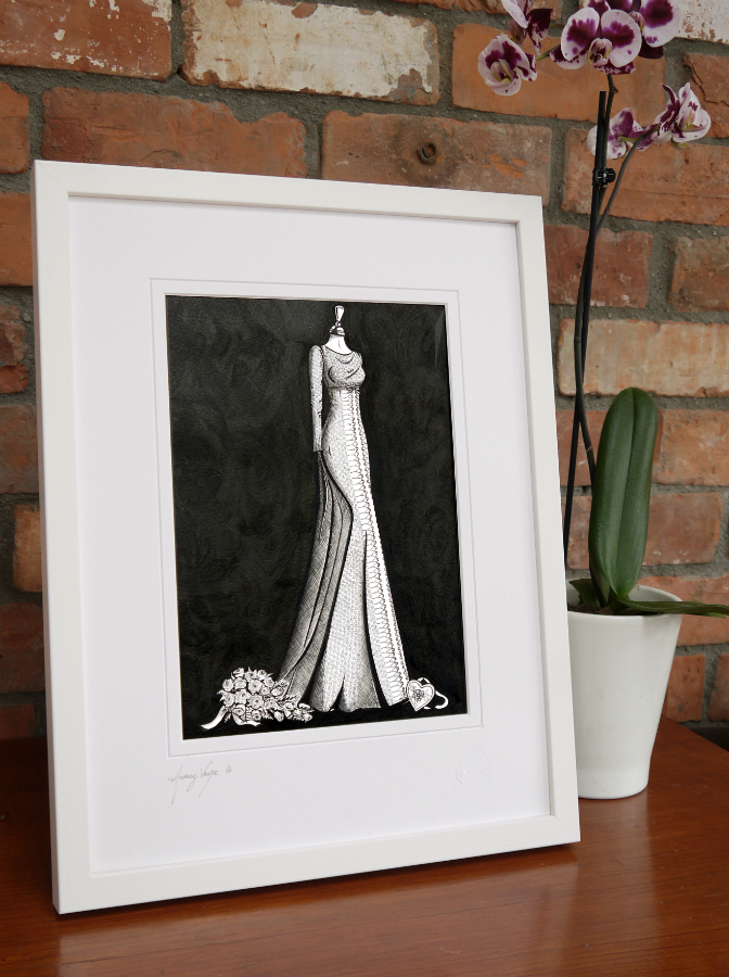 Wedding dress illustration with guipure  lace by Wedding Dress Ink
