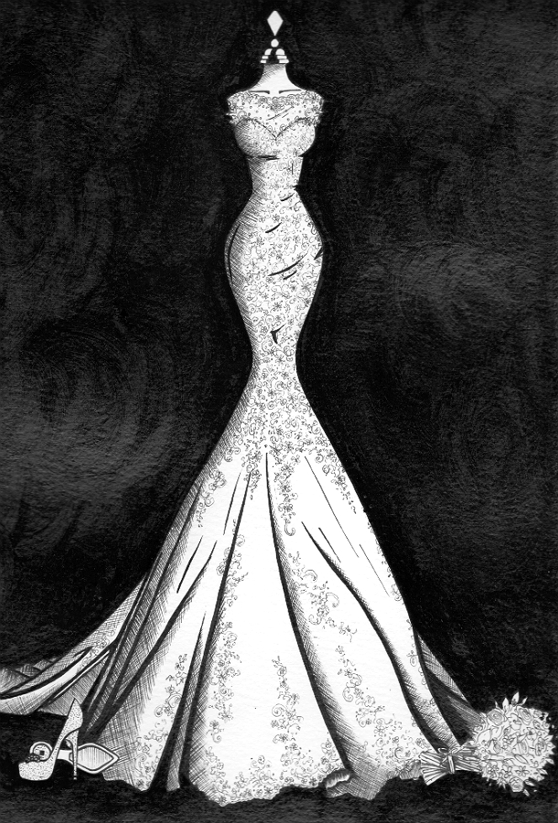 Wedding dress illustration of flared mermaid style lace wedding dress by Wedding Dress Ink
