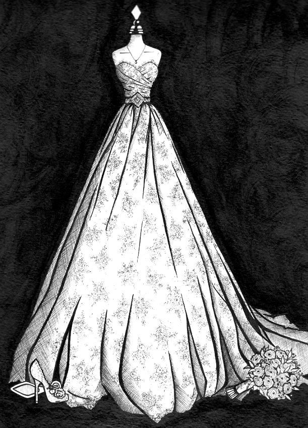 Wedding dress illustration of Caroline Castigliano lace wedding dress by Wedding Dress Ink