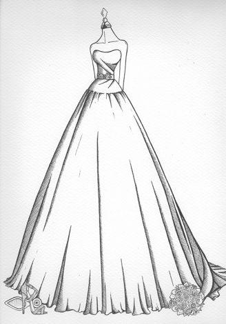 Wedding Dress Ink sketch