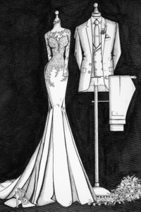 Custom_bride_and_Groom_Painting_by_Wedding_Dress_Ink_2
