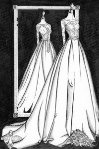Custom_wedding_illustration_of_a_Mirror_View_by_Wedding_Dress_Ink_2
