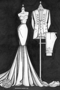 Custom_wedding_illustration_of_the_bride_and_groom_by_Wedding_Dress_Ink