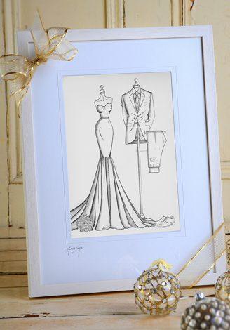 Framed BRIDE N' GROOM fashion sketch by Wedding Dress Ink
