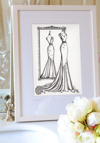 Framed MIRROR VIEW wedding dress fashion sketch illustrated by Wedding Dress Ink
