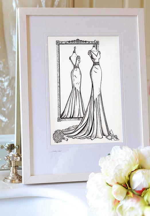Mirror View Sketch - Wedding Dress Ink