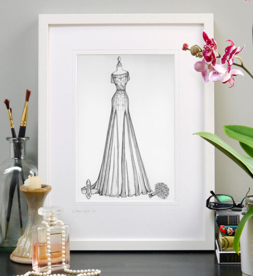 Given as an anniversary gift, custom fashion illustration capturing the bride's wedding dress, shoes and bouquet
