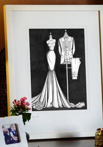 Framed 'Bride N' Groom' painting illustrated by Wedding Dress Ink