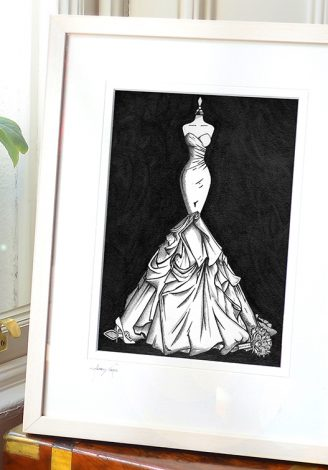Framed wedding dress painting, illustrated by Wedding Dress Ink