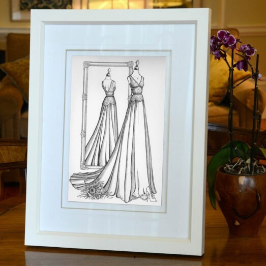 Wedding Dress Ink sketch given as wedding day gift