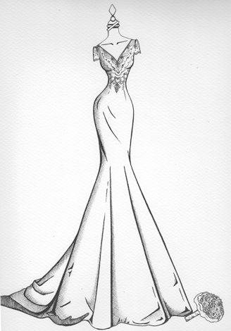 Wedding Dress Ink sketch 527 X 750 1