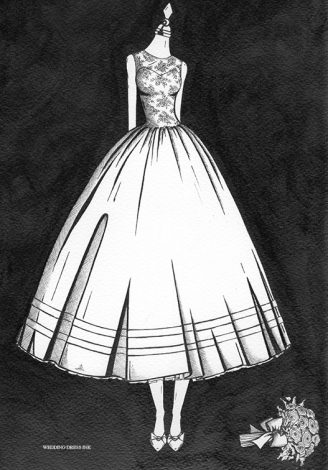 Wedding Dress Painting illustrated by Wedding Dress Ink