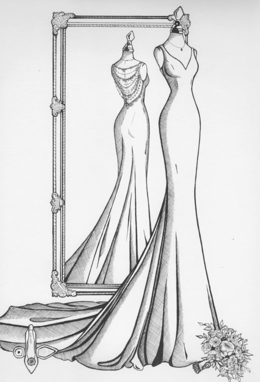Custom fashion illustration of a bride's wedding dress, front and back