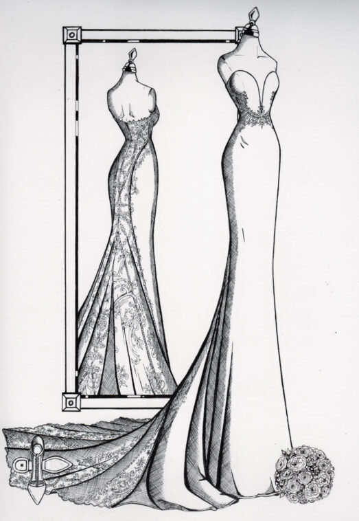 Custom anniversary gift, a fashion illustration of the bride's wedding day style captured in ink