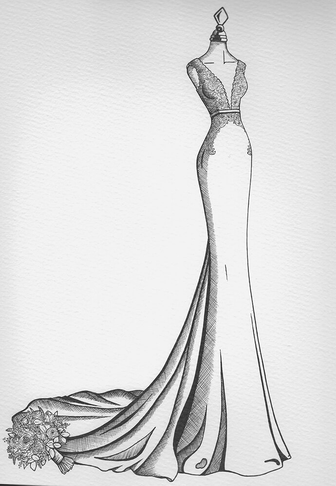 Wedding Dress Sketches | Wedding Dress Drawing - Wedding ...