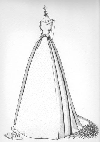 Wedding Dress Sketch by Wedding Dress Ink