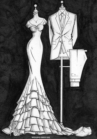 Bride N' Groom Painting by Wedding Dress Ink