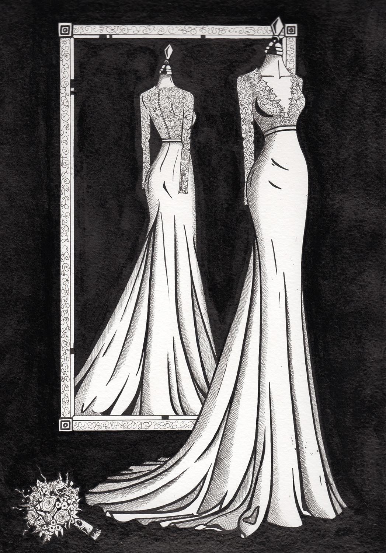 Mirror View Painting - Wedding Dress Ink