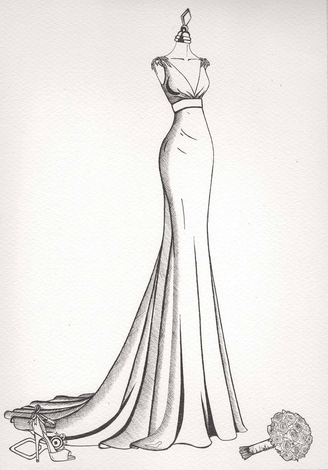 wedding dress sketch wedding dress ink