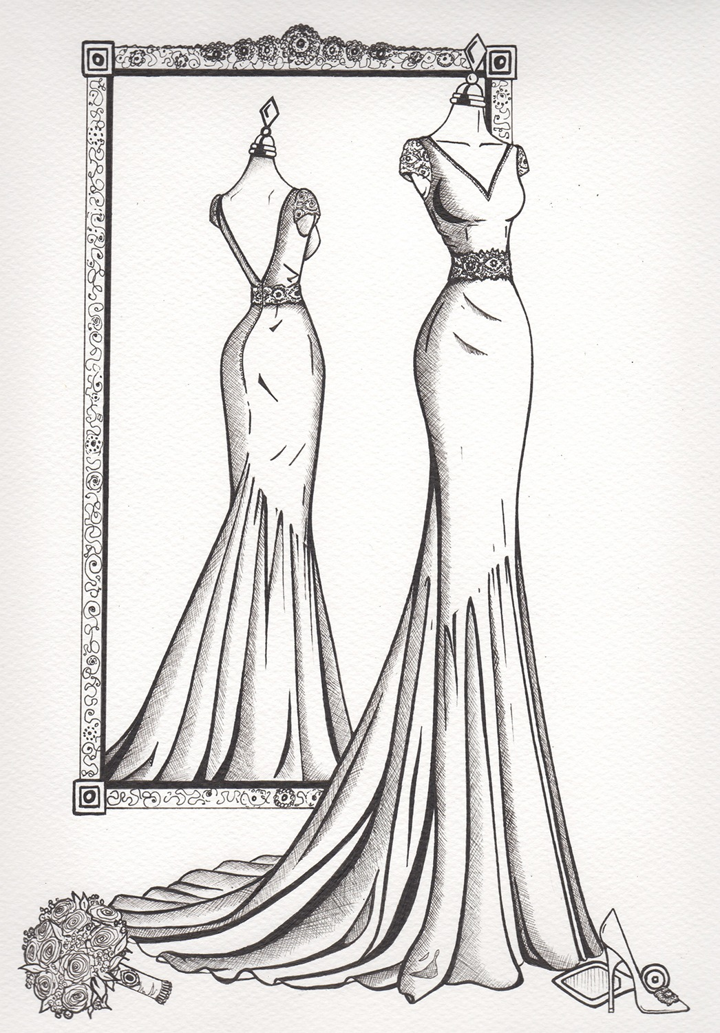 Mirror View Sketch - Wedding Dress Ink