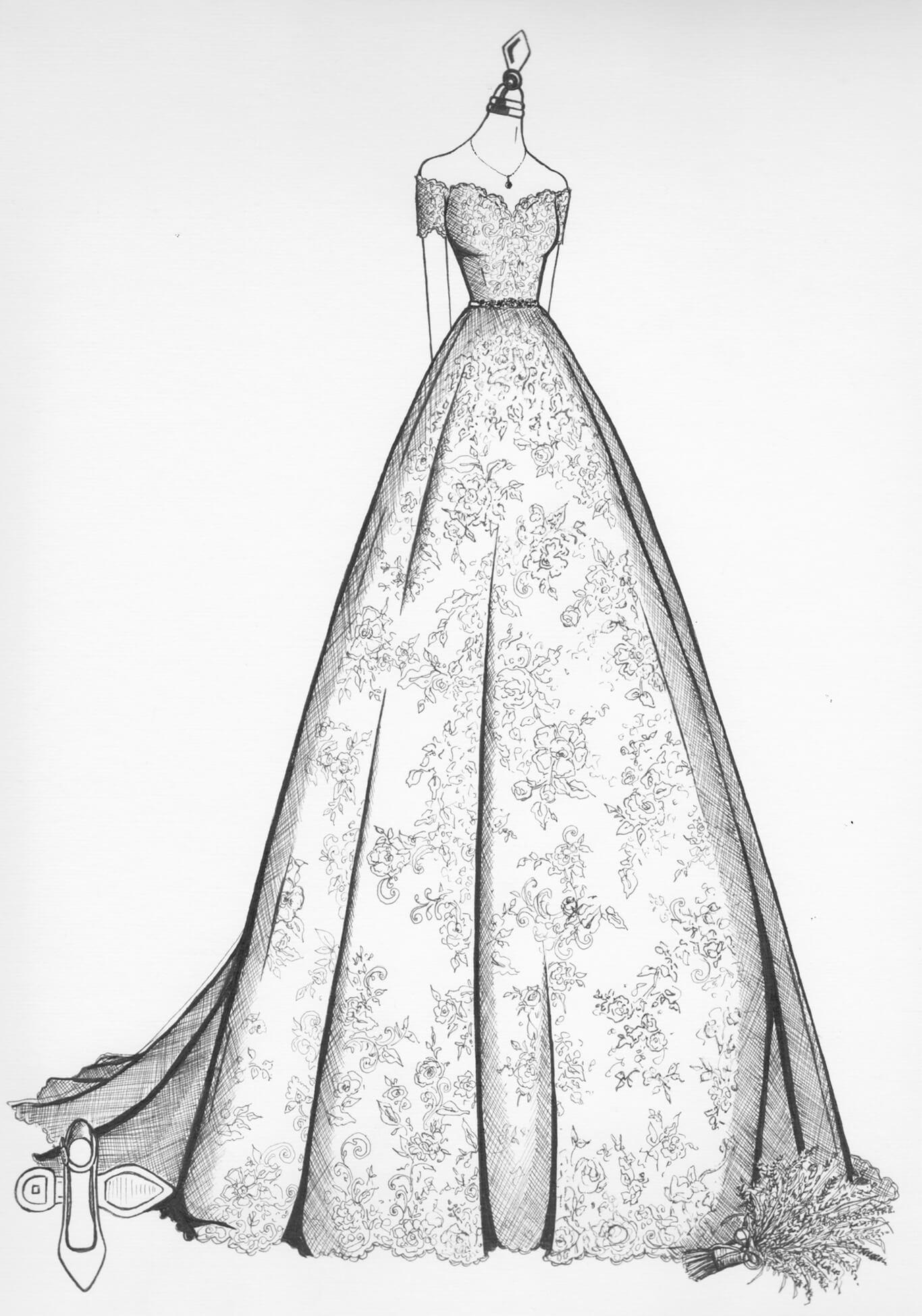 Wedding Dress Sketches   Wedding Dress Drawing   Wedding Dress Ink