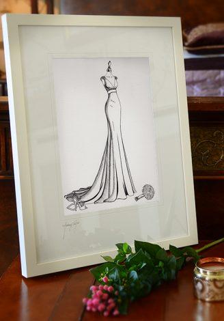 framed wedding dress sketch by Wedding Dress Ink