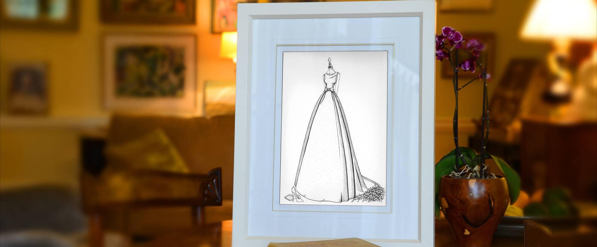Custom wedding dress drawing